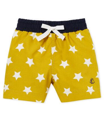 Baby boys' printed beach shorts Bamboo yellow / Marshmallow white