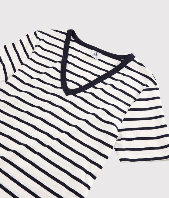 Women's Iconic V-Neck Cotton T-Shirt Marshmallow white / Smoking blue