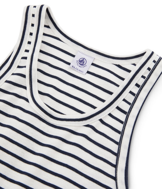 Women's iconic tank top Marshmallow white / Smoking blue