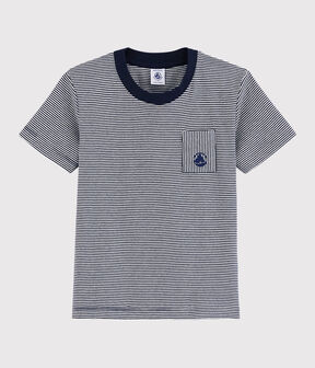 Boys' Short-Sleeved Cotton T-Shirt Smoking blue / Marshmallow white