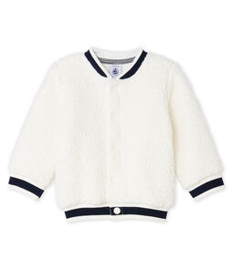 Unisex Babies' Cardigan in Sheepskin Sherpa Marshmallow white