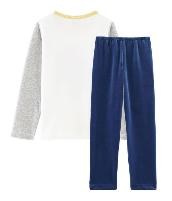 Boys' Velour Pyjamas Medieval blue / Poussiere grey