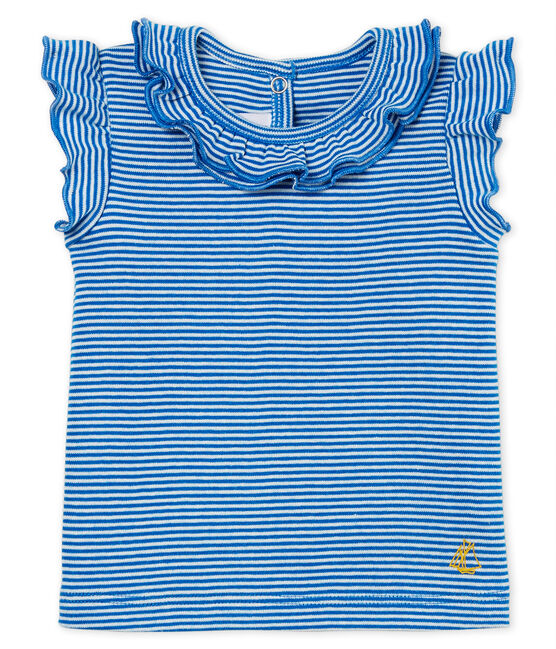 Baby girls' blouse Riyadh blue / Marshmallow white