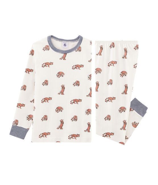 Boys' Ribbed Pyjamas Marshmallow white / Multico white