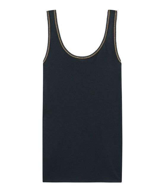 Women's Sleeveless Top in 2x2 Rib Knit Smoking blue