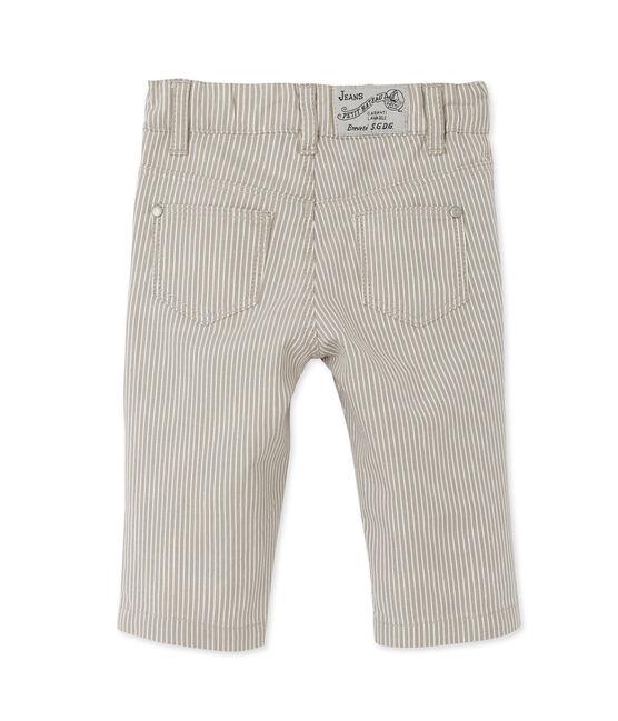 Baby boys' striped trousers Minerai grey / Lait white