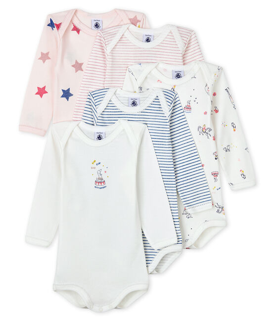 Baby girls' long-sleeved bodysuit - Set of 5 . set