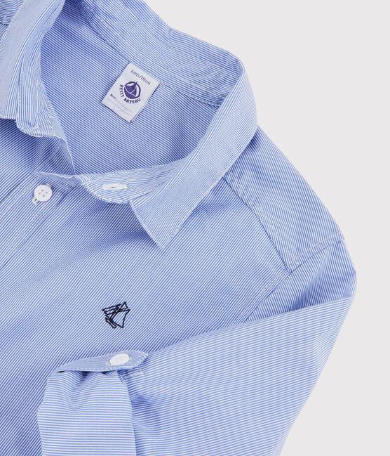 Boys' Long-Sleeved Poplin Shirt Bleu blue / Blanc white
