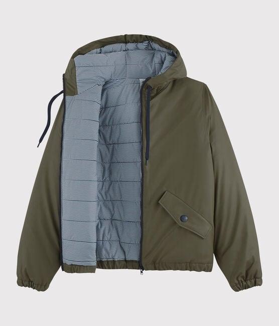 Women's/Men's recycled padded rain jacket Litop green