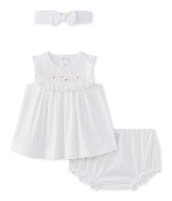 Baby girls' 3-piece set in poplin Ecume white