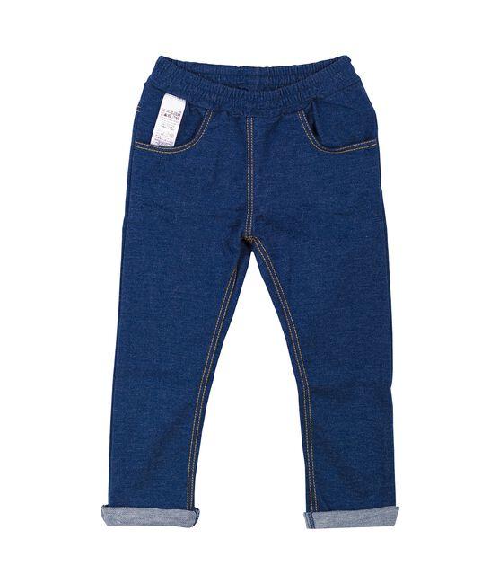 Unisex baby denim jersey trousers Medieval blue / Ecru Cn beige