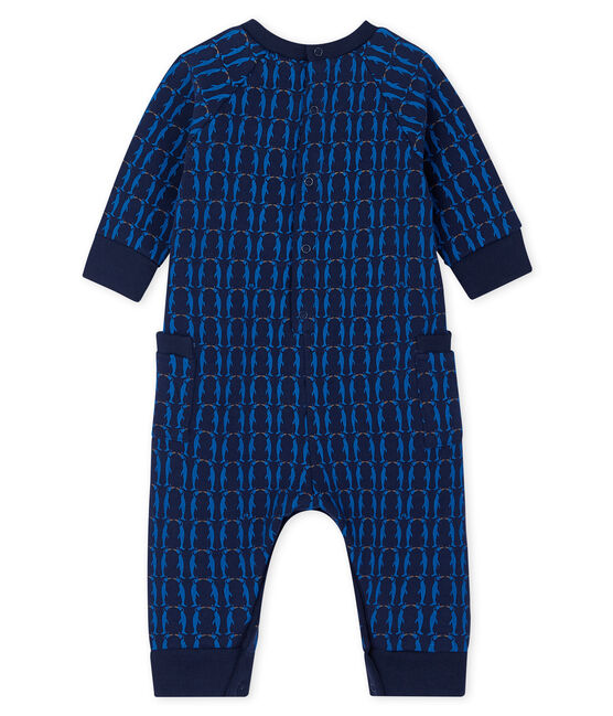 Baby Boys' Long Fleece Jumpsuit Smoking blue / Multico white