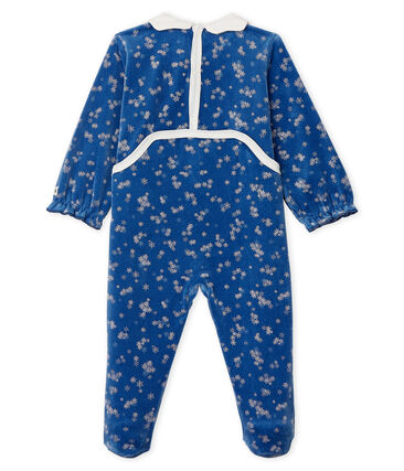 Baby Girls' Velour Sleepsuit Major blue / Marshmallow white