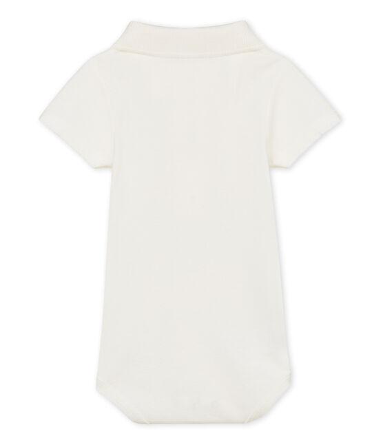 Baby boys' plain bodysuit with polo shirt collar Marshmallow Cn white