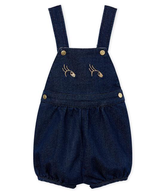 Baby girls' jersey short dungarees Medieval blue / Ecru Cn beige