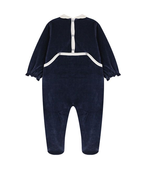 Babies' Velour Neck Sleepsuit Smoking blue