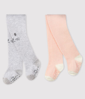 Pack of 2 pairs of baby tights . set