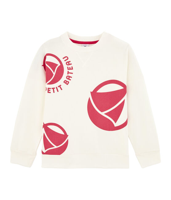 Girl - Boy's Sweatshirt Marshmallow white / Geisha pink