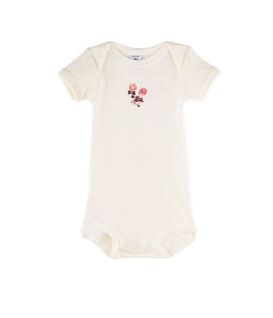 Baby Boys' Short-Sleeved Bodysuit Marshmallow white / Flashy pink