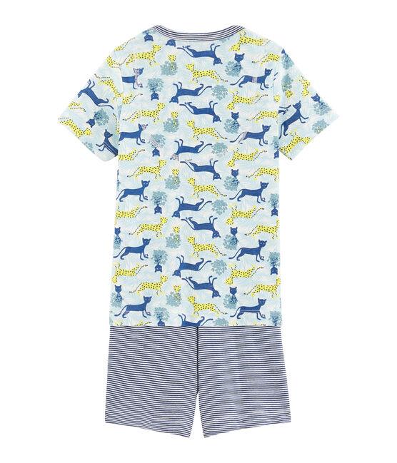 Boys' Ribbed Short Pyjamas Marshmallow white / Multico white