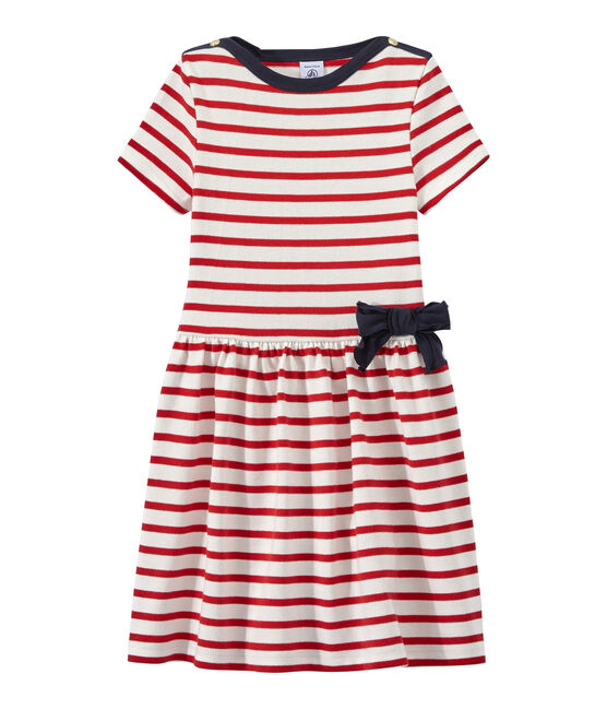 Girl's striped dress Marshmallow white / Terkuit red