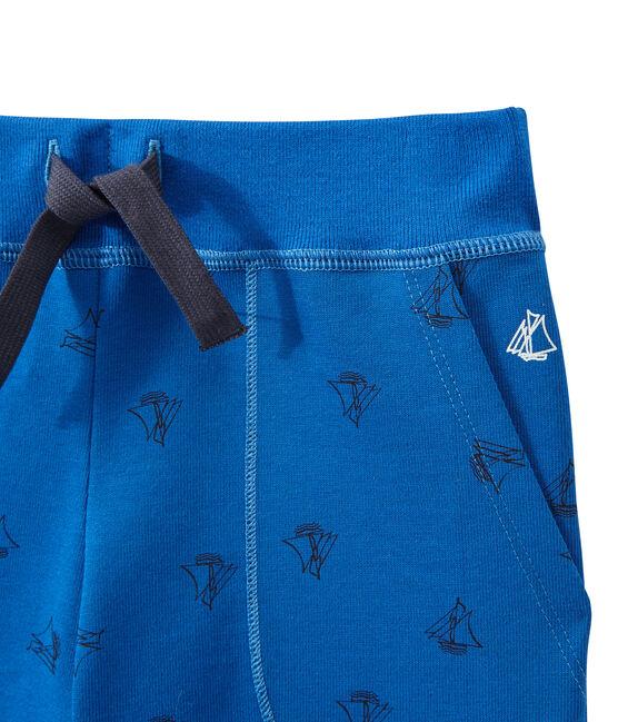 Boy's bermudas in heavyweight print jersey Perse blue / Smoking blue
