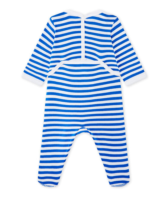 Baby boy's striped sleepsuit Perse blue / Ecume white