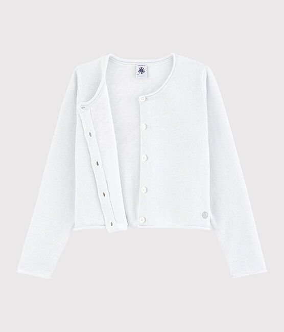 Girls' Cotton Cardigan Marshmallow white / Argent grey