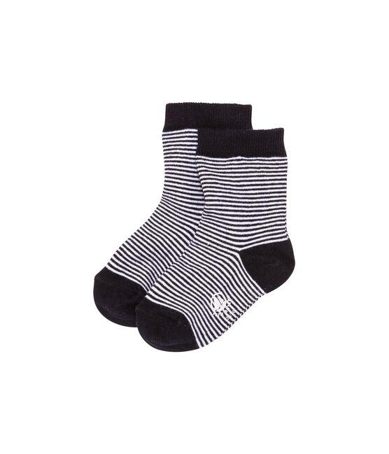 Baby boy's milleraies striped socks Abysse blue / Coquille beige