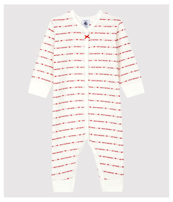 """Petit Bateau Babies' Footless Sleepsuit with Woven """"Je t'aime"""" Marshmallow white / Terkuit red"""