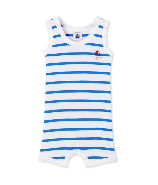 Combicourt bébé garçon rayé Ecume white / Delphinium blue