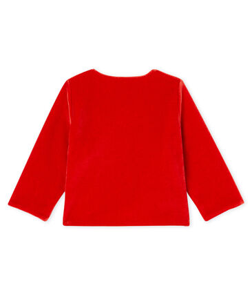 Baby Girls' Velour Knit Cardigan Terkuit red