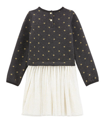 Girl's shiny dual fabric dress City black / Dore yellow