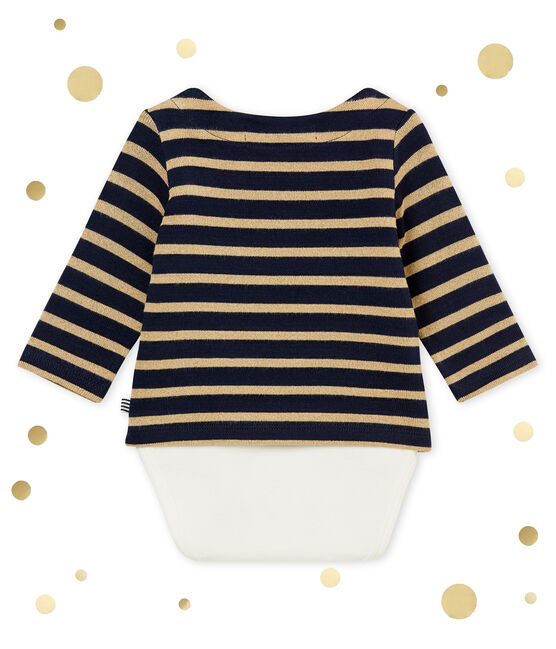 Baby girl's sailor striped body T-shirt Smoking blue / Brindille Brillant brown