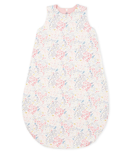 Baby Girls' Reversible Ribbed Sleeping Bag Marshmallow white / Multico white