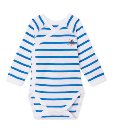 Newborn baby boy long-sleeved striped bodysuit