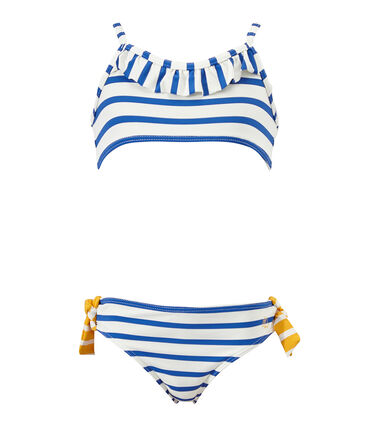 Girl's two-piece swimsuit Marshmallow white / Perse blue