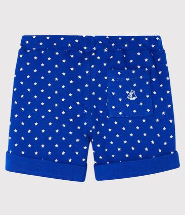 Baby boys' printed shorts Surf blue / Marshmallow white