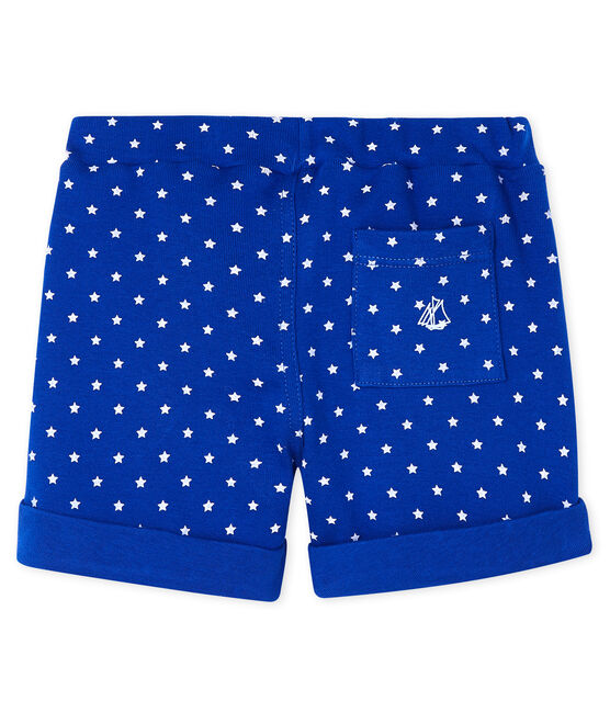 Baby boys' printed shorts Surf blue / Marshmallow white