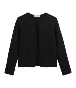 Women's Tube Knit Cardigan Jacket Noir black / Dore yellow