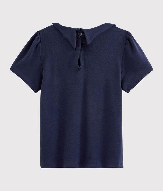 Girls' Short-Sleeved Cotton T-Shirt Smoking blue