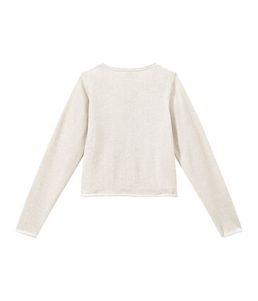 Girls' Smart Cardigan Ecume white / Em Dore brown