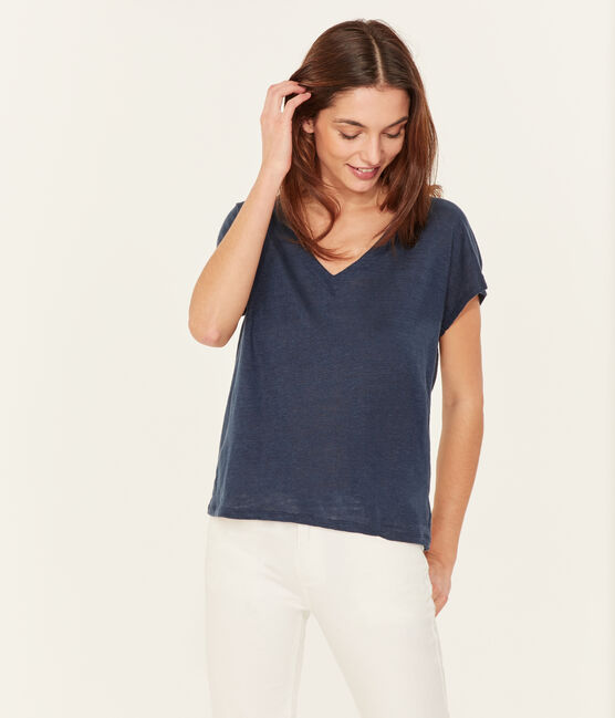 Women's short-sleeved linen t-shirt Haddock blue