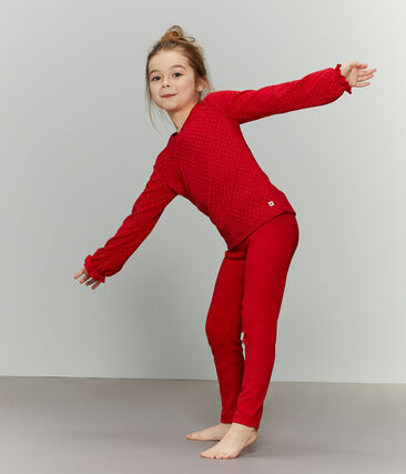 Girls' Tube Knit and Rib Knit Pyjamas Terkuit red / Or yellow