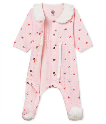 Baby girls' sleepsuit in printed 1x1 rib knit Vienne pink / Multico white