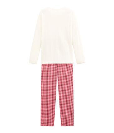 Girl's dual fabric checked pyjamas Terkuit red / Marshmallow white