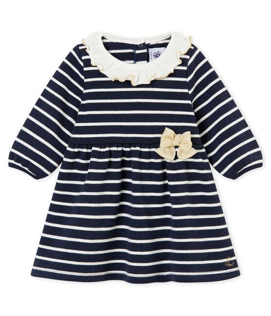 Baby girl's sailor stripe dress Smoking blue / Marshmallow white