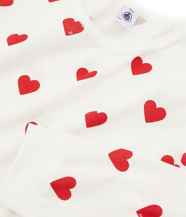 Girls-womens' Ribbed Pyjamas Marshmallow white / Terkuit red
