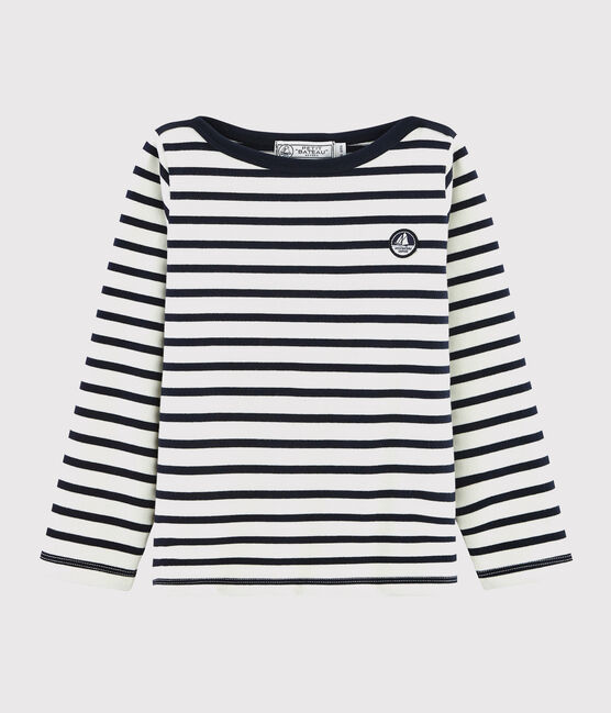 Unisex Jersey Breton Top Marshmallow white / Smoking blue
