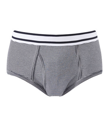 men's milleraie striped briefs Smoking blue / Marshmallow white